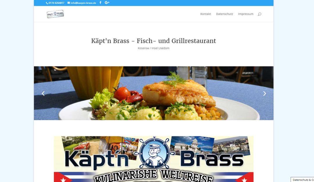 Webseite Restaurant Käpt'n Brass Koserow Usedom